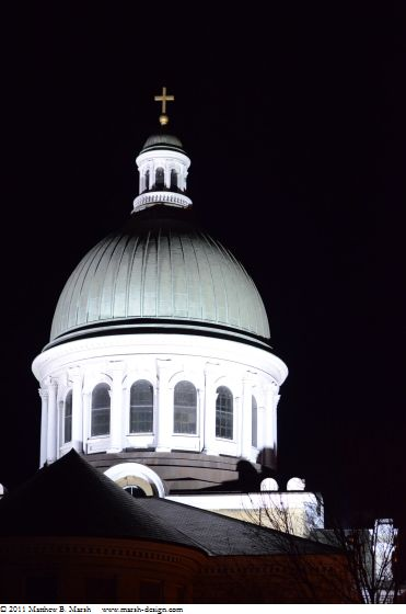 Cathedral dome at night